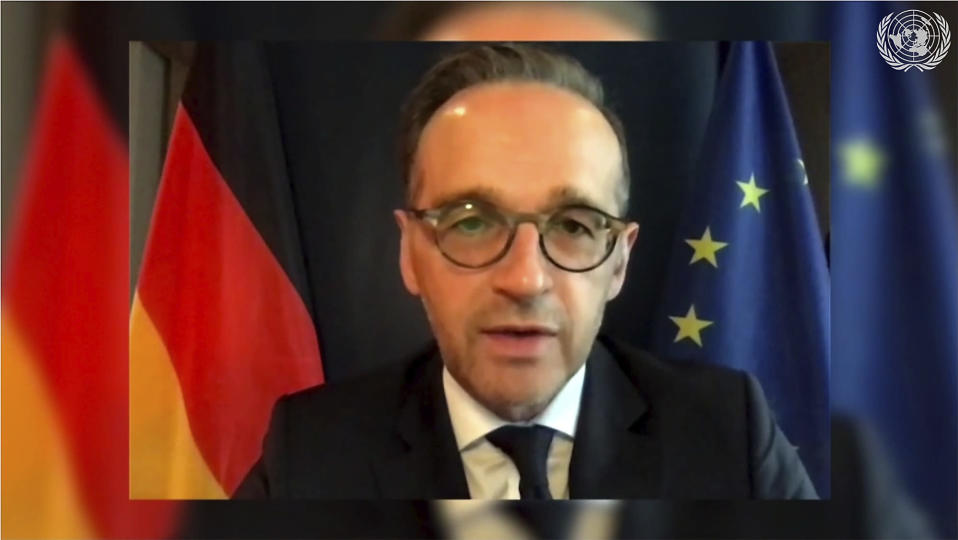 In this image made from UNTV video, Heiko Maas, Foreign Minister of Germany, speaks in a pre-recorded message which was played during the 75th session of the United Nations General Assembly, Tuesday, Sept. 29, 2020, at U.N. headquarters in New York. (UNTV via AP)