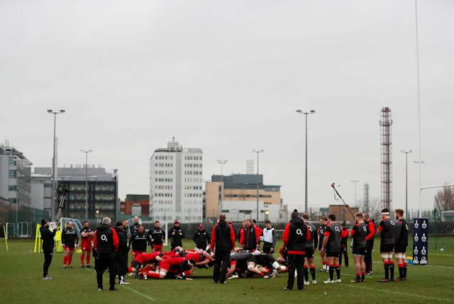 Rugby Union - England Training - Latymer Upper School Playing Fields, London, Britain - February 13, 2018 England and Georgia players during scrum practice Action Images via Reuters/Peter Cziborra