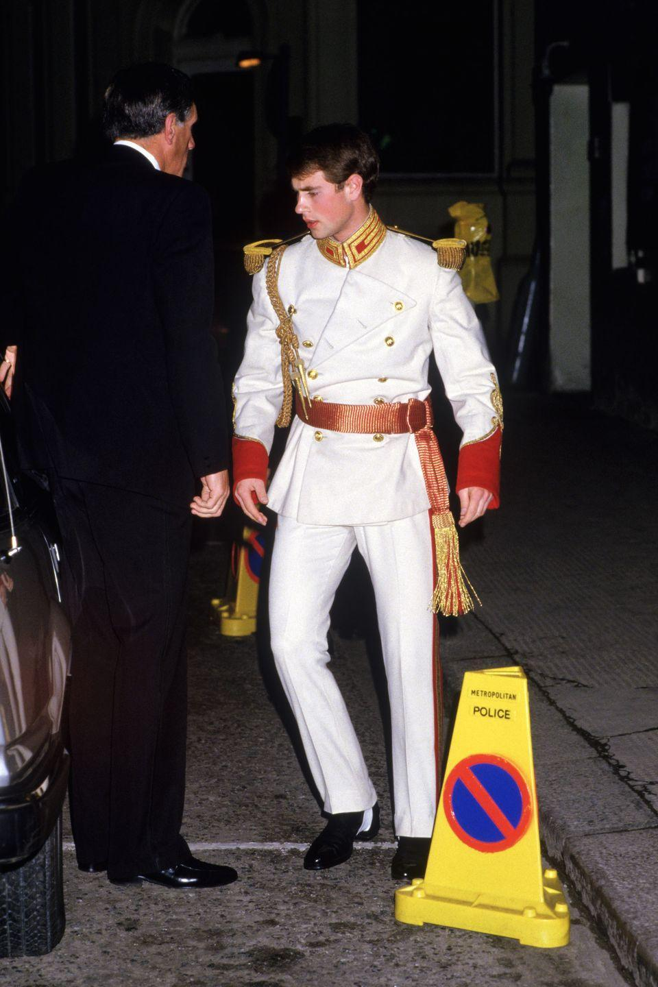 <p>Prince Edward dressed up in an elegant suit for the Raj Ball in London. </p>