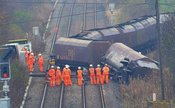 Train derails in Nothumberland (dramatic picture)