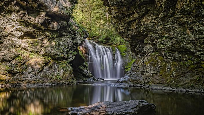Long exposure photo of Marshall's Falls located in East Stroudsburg, Pennsylvania.
