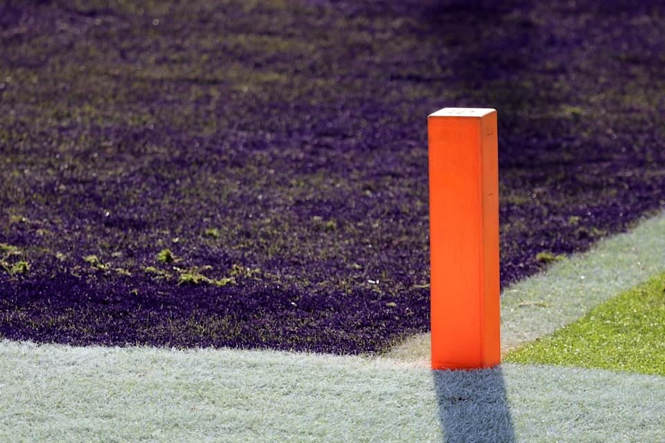 The end zone pylon at the Baltimore Ravens and New York Giants game at M&T Bank Stadium