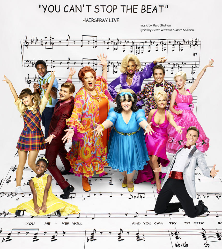<p>Ephraim Sykes as Seaweed J. Stubbs, Jennifer Hudson as Motormouth Maybelle, Martin Short as Wilbur Turnblad, Dove Cameron as Amber Von Tussle, Ariana Grande as Penny Pingleton, Garrett Clayton as Link Larkin, Harvey Fierstein as Edna Turnblad, Maddie Baillio as Tracy Turnblad, Kristin Chenoweth as Velma Von Tussle, Shahadi Wright Joseph as Little Inez, and Derek Hough as Corny Collins. (Photo: Brian Bowen Smith/NBC) </p>