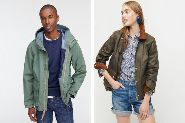 Two jackets from J.Crew: The men's jacket on the left features a zipper tab on the right side, and the women's jacket on the right features a zipper tab on the left side. (Photo: J.Crew/HuffPost)