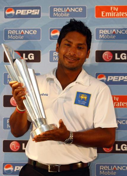 LONDON, ENGLAND - MAY 31:  Sri Lanka captain Kumar Sangakkara poses with the trophy during a press conference for the Twenty 20 World Cup at Lords on May 31, 2009 in London, England.  (Photo by Julian Finney/Getty Images)