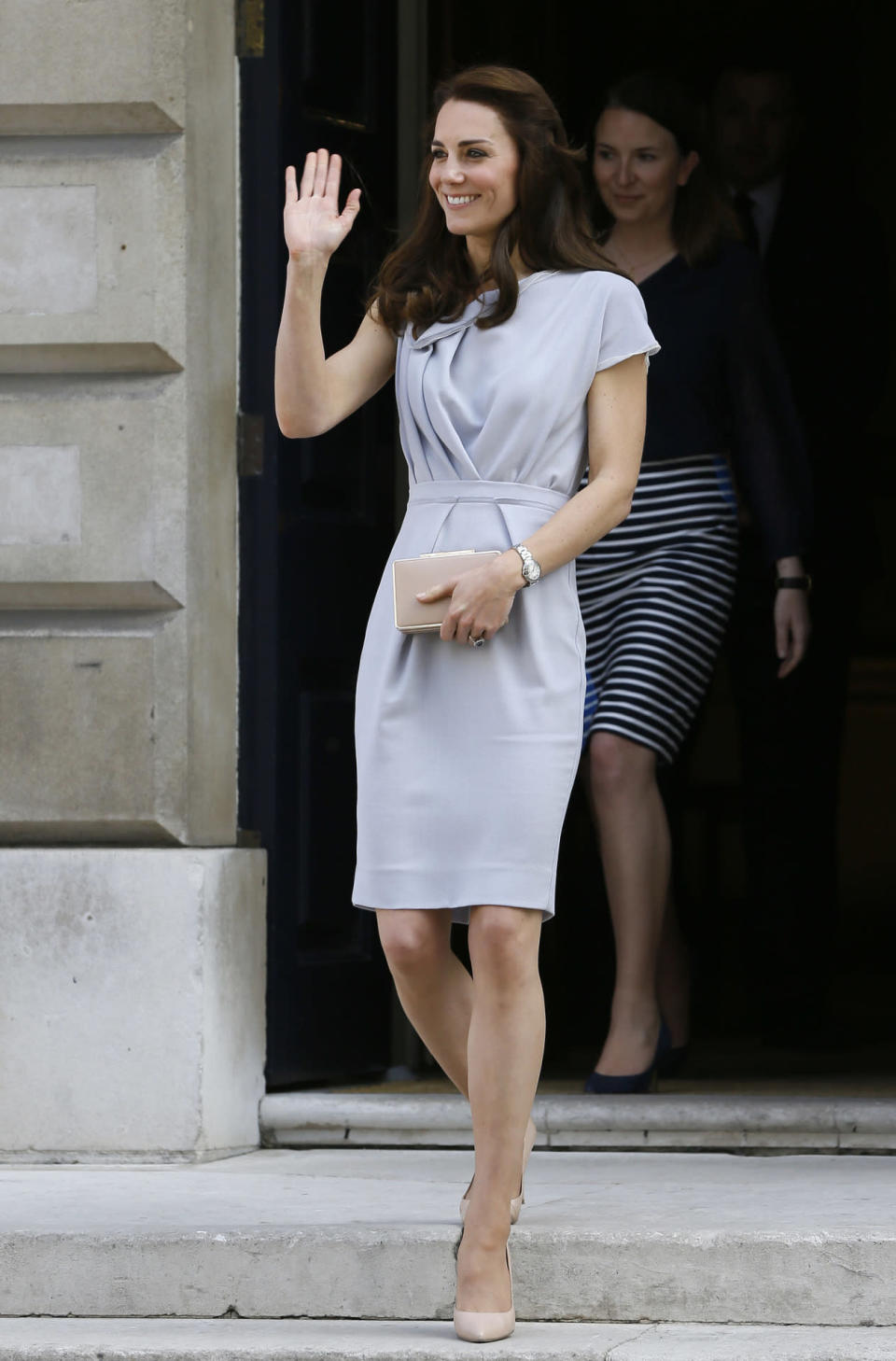<p>For a lunch date in London, Kate wore a beautifully draped dress by Roksanda Ilincic along with her trusted nude LK Bennett heels and clutch.</p><p><i>[Photo: PA]</i></p>