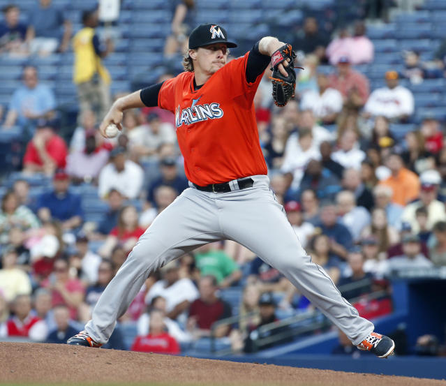 Miami Marlins starting pitcher Tom Koehler works against the Atlanta Braves in the first inning of a baseball game Monday, April 21, 2014 in Atlanta. (AP Photo/John Bazemore)