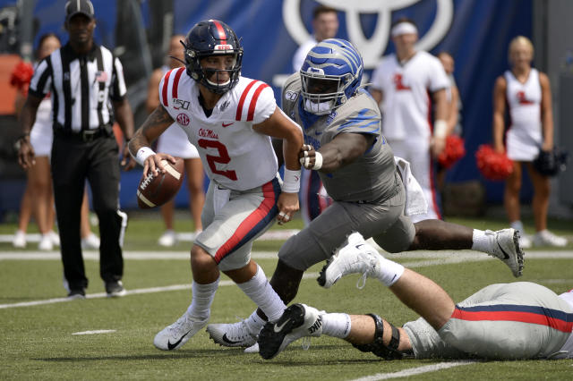 Mississippi had fewer than 200 total yards of offense in a 15-10 loss at Memphis on Saturday. (AP Photo/Brandon Dill)
