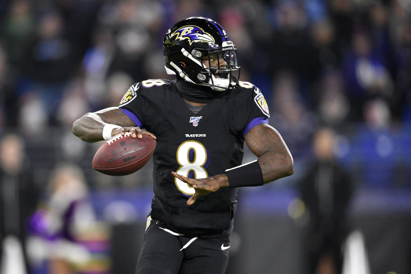 Baltimore Ravens quarterback Lamar Jackson throws a pass against the New York Jets during the first half of an NFL football game, Thursday, Dec. 12, 2019, in Baltimore. (AP Photo/Nick Wass)