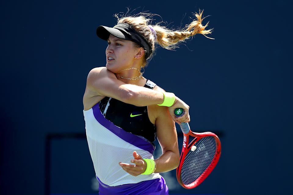 NEW YORK, NEW YORK - AUGUST 26: Eugenie Bouchard of Canada returns the ball to Anastasija Sevastova (not pictured) of Latvia during their Women's Singles first round match during day one of the 2019 US Open at the USTA Billie Jean King National Tennis Center on August 26, 2019 in the Flushing neighborhood of the Queens borough of New York City.  (Photo by Clive Brunskill/Getty Images)