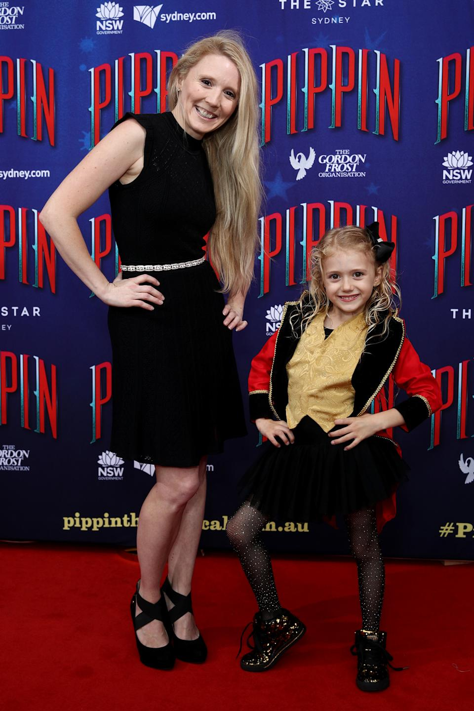 Nikki Webster and daughter Skylah McMah attend opening night of Pippin at Lyric Theatre, Star City on December 03, 2020 in Sydney, Australia.