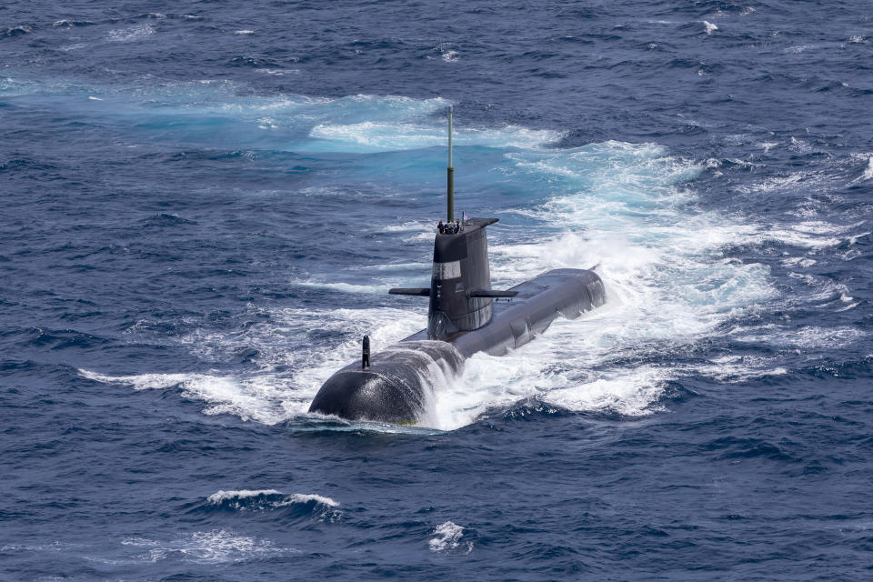 DARWIN, AUSTRALIA - SEPTEMBER 05: In this handout image provided by the Australian Defence Force, Royal Australian Navy submarine HMAS Rankin is seen during AUSINDEX 21, a biennial maritime exercise between the Royal Australian Navy and the Indian Navy on September 5, 2021 in Darwin, Australia. Australia, the United States and the United Kingdom have announced a new strategic defence partnership - known as AUKUS - to build a class of nuclear-propelled submarines and work together in the Indo-Pacific region. The new submarines will replace the Royal Australian Navy's existing Collins submarine fleet. (Photo by POIS Yuri Ramsey/Australian Defence Force via Getty Images)