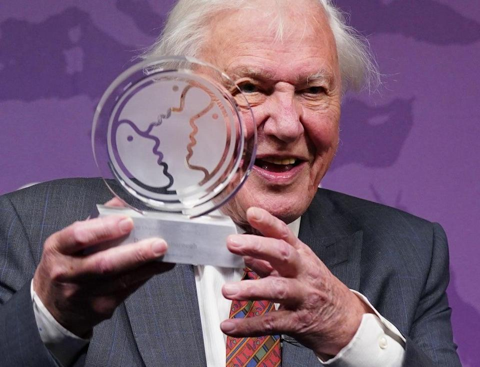 Sir David Attenborough is presented with a Chatham House Centenary Lifetime Award during an event to celebrate his work and achievements at Chatham House in London (Yui Mok/PA) (PA Wire)