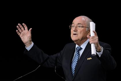 Sepp Blatter delivers his speech ahead of the vote to decide on the FIFA presidency. (AFP)