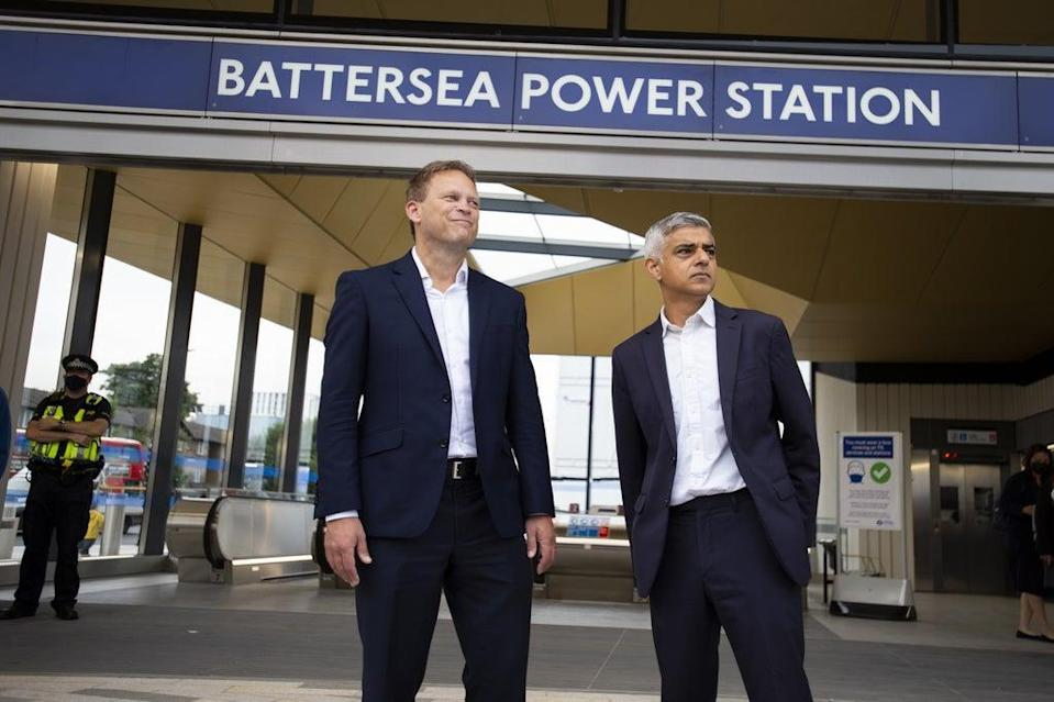 Transport Secretary Grant Shapps (left) criticised the M25 protests as he visited the new Battersea Power Station Tube station (David Mirzeoff/PA) (PA Wire)