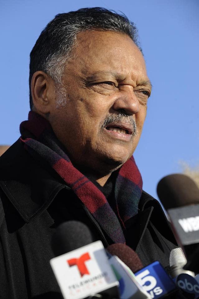 "File-This Nov. 24, 2015, file photo shows Rev. Jesse Jackson speaking to the media during a vigil for 17-year-old Laquan McDonald, who was fatally shot and killed Oct. 20, 2014 in Chicago. Jackson says he's deeply insulted by a Fox News host's ""attack"" on Cleveland Cavaliers star LeBron James. Political commentator Laura Ingraham criticized the three-time NBA champion for his recent comments about social issues, suggesting he should ""shut up and dribble."" Jackson says it's important for James, Stephen (STEH'-fehn) Curry, Kevin Durant and other NBA players to keep speaking out against injustice and the behavior of President Donald Trump. (AP Photo/Paul Beaty, File)"