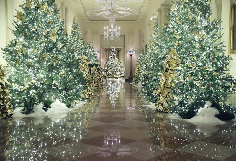 Christmas decorations are on display in the Grand Foyer at the White House December 2, 2019 in Washington, DC.