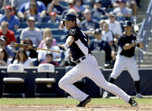 New York Yankees' Brennan Boesch bats against the Philadelphia Phillies in the first inning of a spring training exhibition baseball game in Tampa, Fla., Saturday, March 16, 2013. Boesch made his Yankees' debut, starting in right field and going 0 for 3 as a New York split squad lost 7-0 to the Phillies. (AP Photo/Kathy Willens)