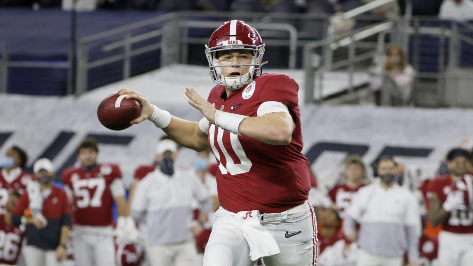 Alabama quarterback Mac Jones is one of the possibilities for the third pick of the draft. (AP Photo/Michael Ainsworth)