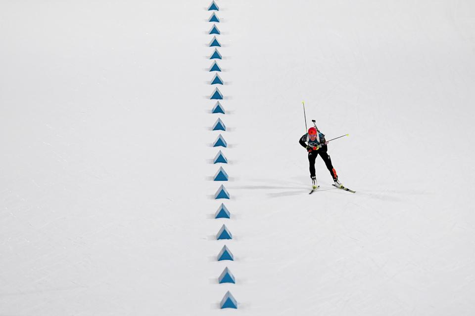<p>Laura Dahlmeier of Germany competes during the Women's Biathlon 10km Pursuit on day three of the PyeongChang 2018 Winter Olympic Games at Alpensia Biathlon Centre on February 12, 2018 in Pyeongchang-gun, South Korea. (Photo by Matthias Hangst/Getty Images) </p>