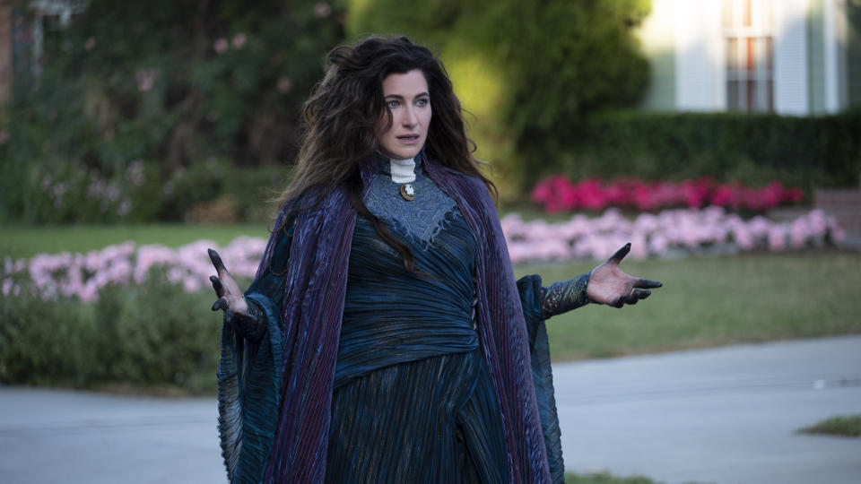 Kathryn Hahn as Agatha Harkness in the series finale of 'WandaVision'. (Credit: Disney+)