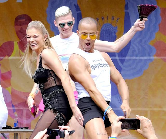 "<p>While the songstress isn't really known for partying, she was certainly living it up as she headlined New York City's PrideFest, an annual street festival celebrating LGBT Pride Month. Appropriately, she sang her new song, ""Love Is Love Is Love."" (Photo: Paul Zimmerman/Getty Images) </p>"
