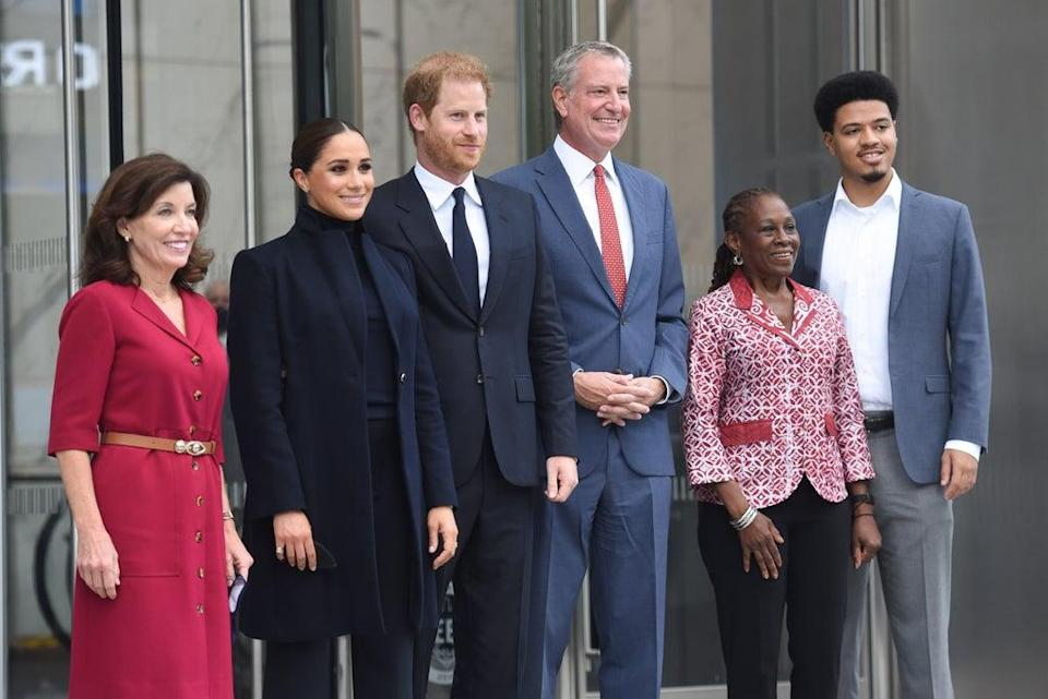 (left to right) Governor Kathy Hochul, the Duke and Duchess of Sussex, Mayor Bill de Blasio, First Lady Chirlane McCray and Dante de Blasio during a visit to the One World Observatory in New York on Thursday (Office of the Mayor of New York/PA) (PA Media)