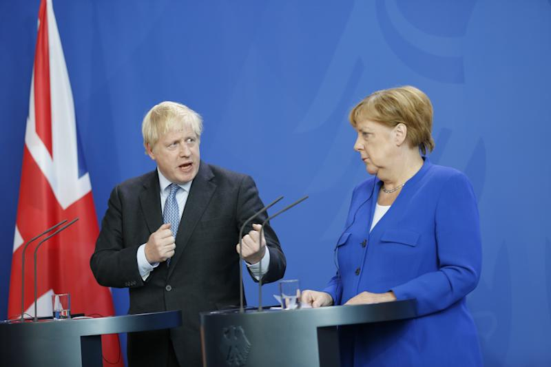 Chancellor Angela Merkel and Boris Johnson at the press conference. Prime Minister Johnson comes to Berlin for his inaugural visit. In a joint discussion will be the Brexit Agreement, other European political and international issues in Berlin, Germany on August 21, 2019. (Photo by Simone Kuhlmey / Pacific Press/Sipa USA)