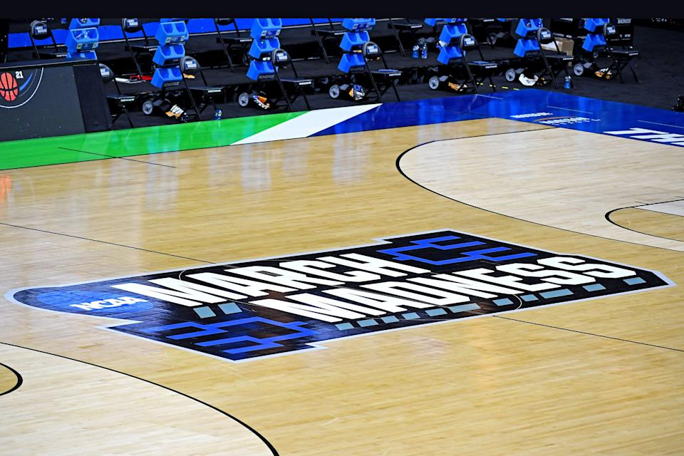 A view of the March Madness logo on the court in Indianapolis