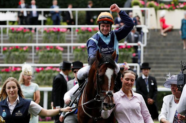 Horse Racing - Royal Ascot - Ascot Racecourse, Ascot, Britain - June 19, 2018 Charles Bishop celebrates on Accidental Agent ridden after winning the 2.30 Queen Anne Stakes REUTERS/Paul Childs