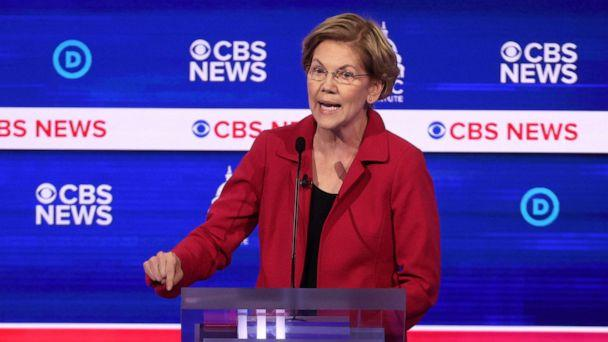 PHOTO: Sen. Elizabeth Warren speaks during the Democratic presidential primary debate at the Charleston Gaillard Center, Feb. 25, 2020, in Charleston, South Carolina. (Win Mcnamee/Getty Images)