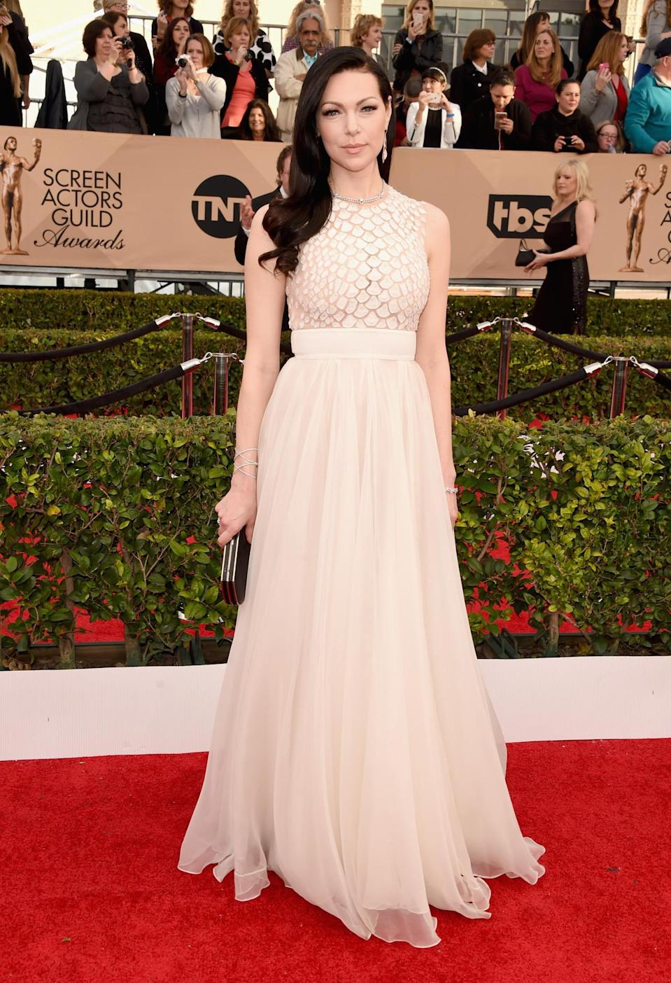 <p>While a risk for a such a pale person to wear a nude-colored gown, Laura Prepon, at the show representing <i>Orange Is the New Black</i>, pulled it off. <i>Photo: Getty Images </i></p>