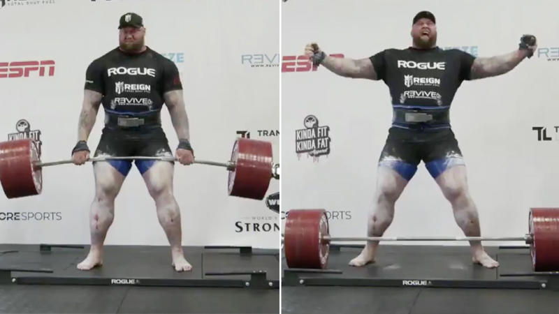 Hafthór 'Thor' Björnsson lifts 500kg and celebrates after breaking world record.