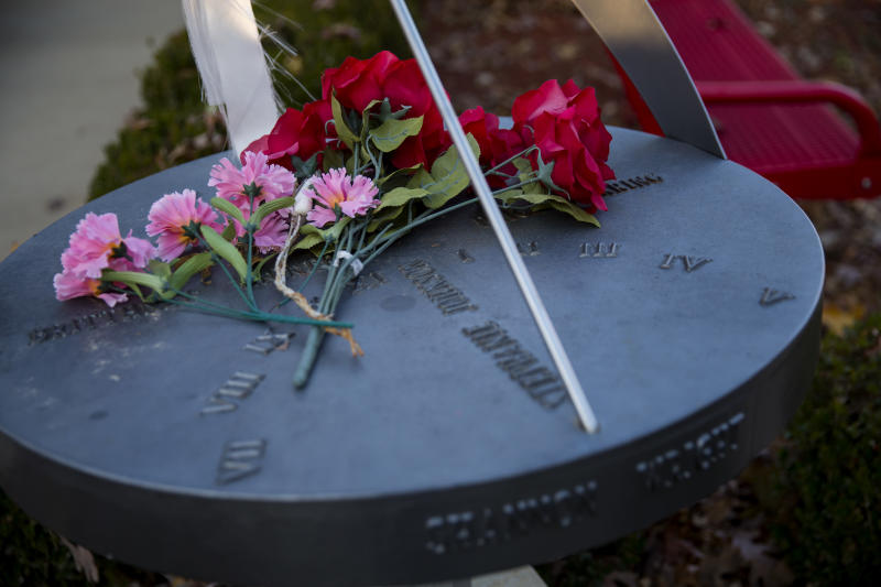 A sundial installed in honor of four children and a teacher killed in the 1998 school shooting in Jonesboro