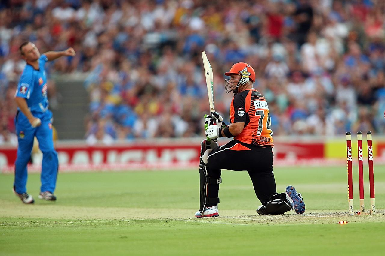 ADELAIDE, AUSTRALIA - JANUARY 10:  Herschelle Gibbs of Perth is bowled out during the Big Bash League match between the Adelaide Strikers and the Perth Scorchers at Adelaide Oval on January 10, 2013 in Adelaide, Australia.  (Photo by Morne de Klerk/Getty Images)