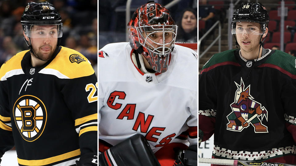 Kyle Dubas plugged some holes in free agency with Nick Ritchie (left), Petr Mrazek (centre) and Michael Bunting (right). (Getty)