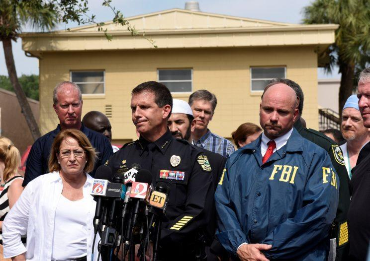 From left, Orange County Mayor Teresa Jacobs, Orlando police chief John Mina and FBI agent Ron Hopper speak at a news conference on Sunday after a deadly shooting attack at Pulse nightclub in Orlando. (Photo: Kevin Kolczynski/Reuters)