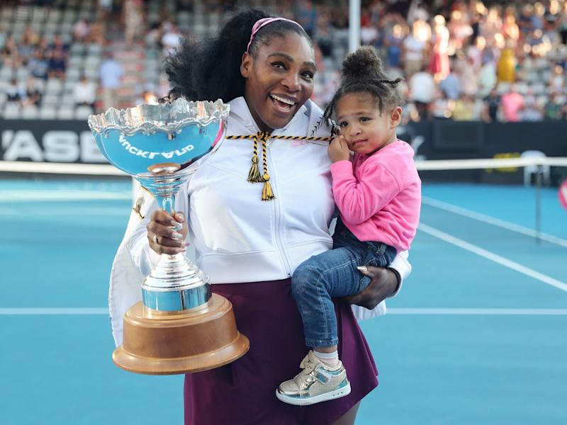 Serena Williams with her daughter Alexis Olympia after winning the women's singles final at the Auckland Classic tennis tournament, 12 January 2020: Photo by MICHAEL BRADLEY/AFP via Getty Images