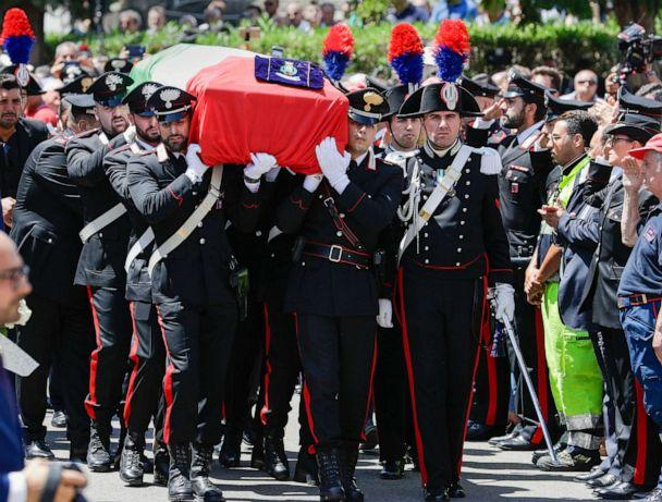 PHOTO: The coffin containing the body of Carabinieri's officer Mario Cerciello Rega is carried to his funeral in his hometown of Somma Vesuviana, near Naples, Italy, July 29, 2019. (Andrew Medichini/AP, FILE)
