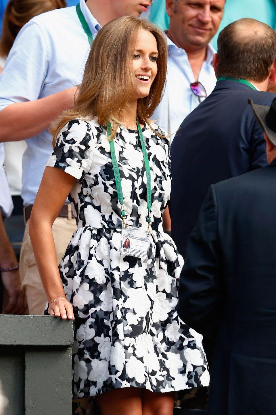 <p><strong>2015</strong> Kim Sears looked lovely in a monochrome floral dress.</p>