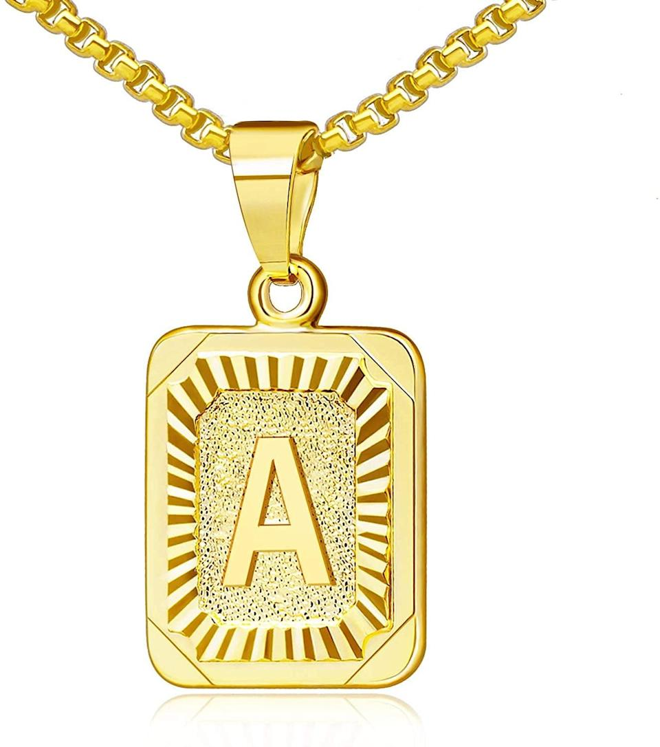 <p>They'll love to layer this <span>Gold Initial Necklace</span> ($12) with the rest of their necklaces. It's such a fun way to incorporate some personalization to a gift. </p>