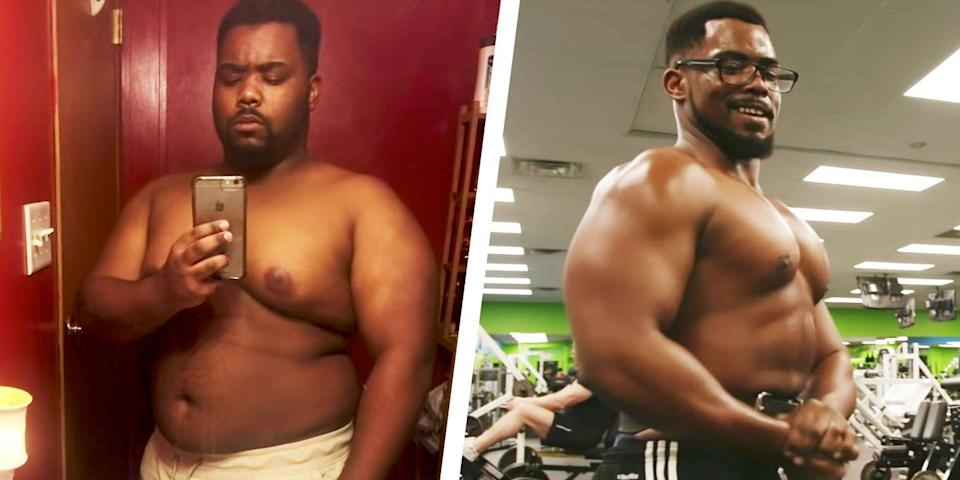 """<p>Like many people, Quantel Thomas resolved to lose weight in the New Year. At the time he weighed 284 pounds and experienced """"constant aches and pains."""" </p><p>A doctor explained he was at risk of becoming diabetic. He started working out six days a week. In just one month, Quantel dropped from 284 to 255 pounds. After 10 months, he was at a low of 180 pounds. </p><p>Now, he loves fitness and has bulked up to 204 pounds due to his bodybuilding training.</p><p>""""To be able to love myself, that's the true, ultimate milestone achieved to this day,"""" he told <em>Men's Health</em>.</p><p><a href=""""https://www.menshealth.com/weight-loss/a29822614/overweight-bodybuilder-weight-loss-transformation/"""" rel=""""nofollow noopener"""" target=""""_blank"""" data-ylk=""""slk:Read more about Quantel's transformation."""" class=""""link rapid-noclick-resp"""">Read more about Quantel's transformation. </a></p>"""