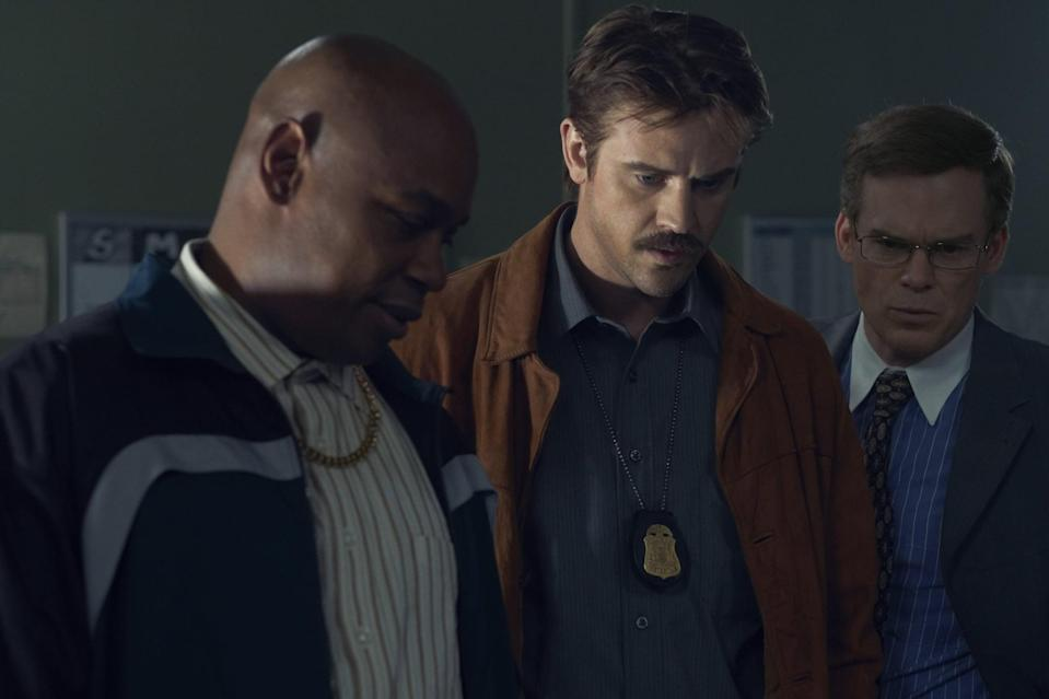 """<p>This psychological thriller - which stars Boyd Holbrook, Cleopatra Coleman, and Michael C. Hall - takes place in 1988 Philadelphia, following a police officer as he struggles with his lifelong obsession to track down a mysterious serial killer, whose crimes are just as bizarre as they are gruesome. Anyone else getting some <strong>Dexter</strong> vibes?</p> <p><a href=""""http://www.netflix.com/title/80231903"""" class=""""link rapid-noclick-resp"""" rel=""""nofollow noopener"""" target=""""_blank"""" data-ylk=""""slk:Watch In the Shadow of the Moon on Netflix now."""">Watch <strong>In the Shadow of the Moon</strong> on Netflix now.</a></p>"""