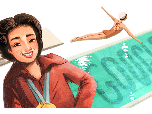 Vicki Draves made history when she became the first Asian American woman to win an Olympic medal (Google Doodle)