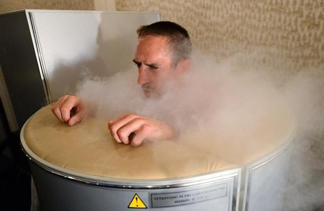 TOPSHOTS - France's national football team Franck Ribery is pictured in a medical engine used for cryotherapy at the training center in Kircha on June 7, 2012, on the eve of the Euro 2012 football championships opening match in Warsaw. France will play its first match on June 11 against England. TOPSHOTS / AFP PHOTO / FRANCK FIFEFRANCK FIFE/AFP/GettyImages