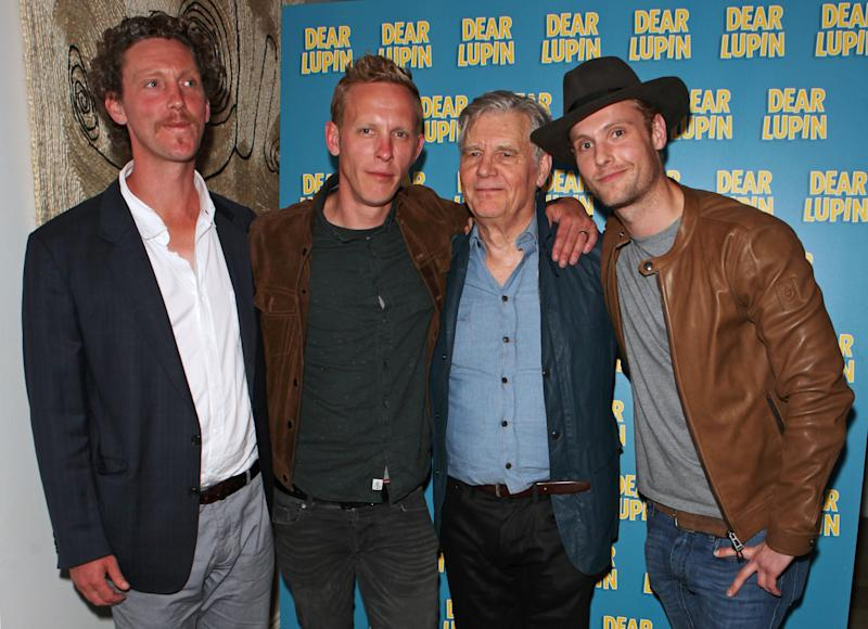 """LONDON, ENGLAND - AUGUST 03: (L to R) Robin Fox, Laurence Fox, James Fox and Jack Fox attend an after party following the press night performance of """"Dear Lupin"""" at the Ham Yard Hotel on August 3, 2015 in London, England. (Photo by David M. Benett/Dave Benett/Getty Images)"""