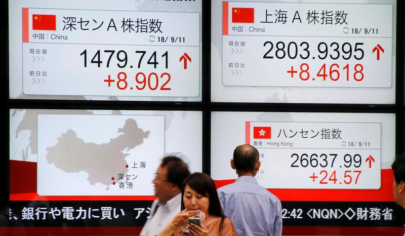 FILE PHOTO: People stand in front of an electronic board showing the stock index in China outside a brokerage in Tokyo, Japan, September 11, 2018. REUTERS/Toru Hanai