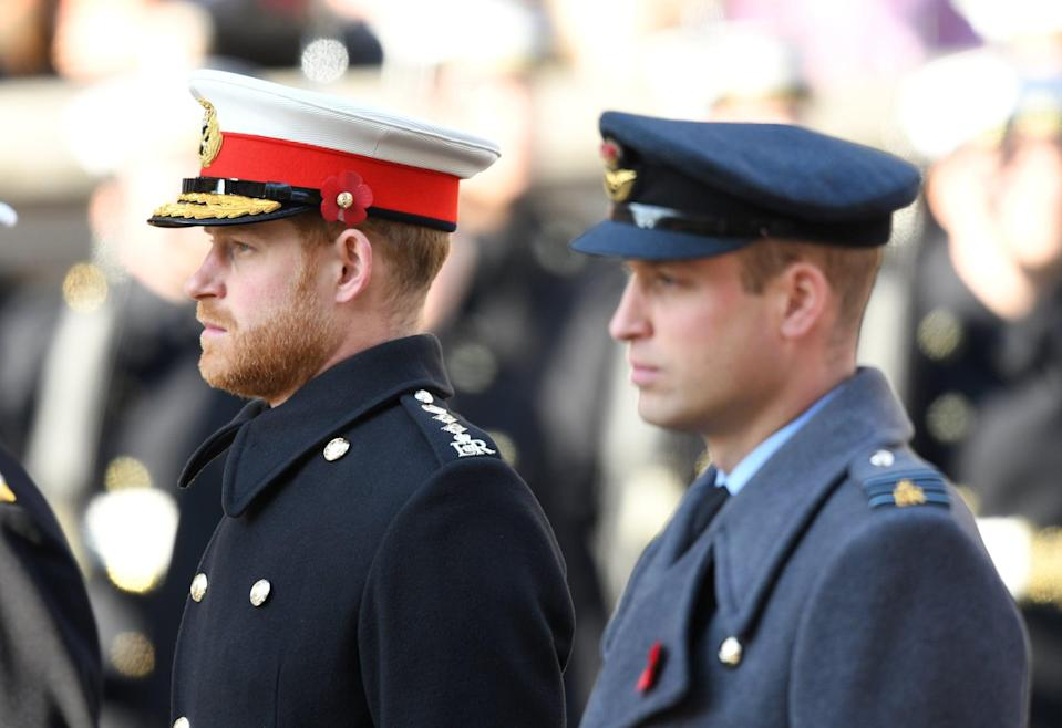 LONDON, ENGLAND - NOVEMBER 10: Prince Harry, Duke of Sussex and Prince William, Duke of Cambridge attend the annual Remembrance Sunday memorial at The Cenotaph on November 10, 2019 in London, England.  (Photo by Karwai Tang/WireImage)