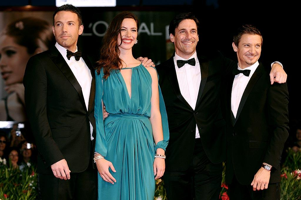 "Ben Affleck, Rebecca Hall, Jon Hamm, and Jeremy Renner were all smiles on the red carpet at the Venice Film Festival premiere of their film, ""The Town,"" Wednesday night. Daigoron/<a href=""http://www.splashnewsonline.com"" target=""new"">Splash News</a> - September 8, 2010"