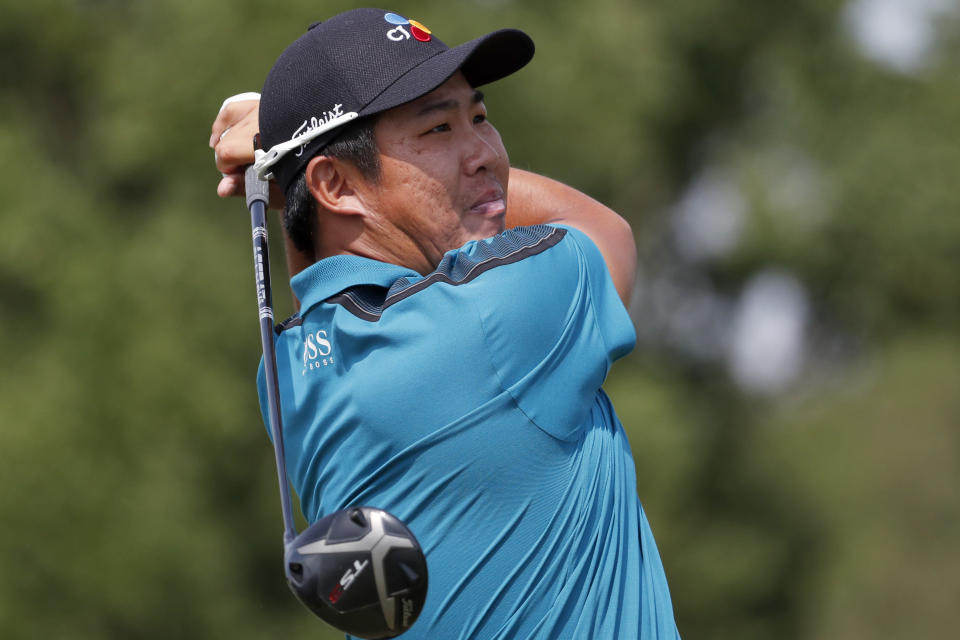 Byeong Hun An, of South Korea, watches his drive from the 11th tee during the second round of the Sanderson Farms Championship golf tournament in Jackson, Miss., Friday, Sept. 20, 2019. (AP Photo/Rogelio V. Solis)
